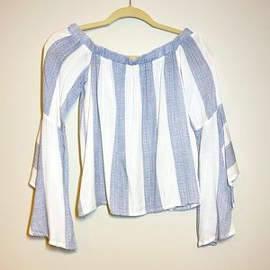 SEEK Off the Shoulder Blue & White Striped Blouse